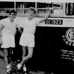 * John Sweeny and Friend About to Board a Bus in Changi Village, c1954-56.